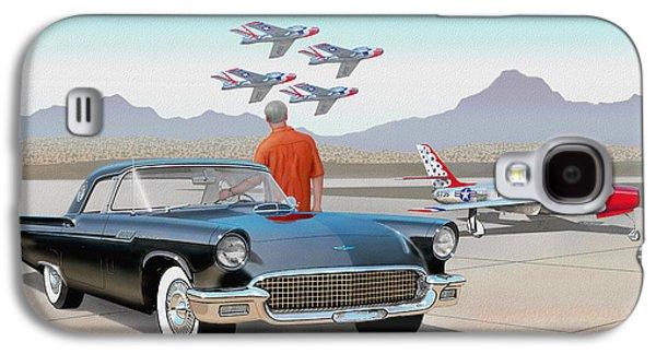 1957 Thunderbird  With F-84 Thunderbirds Vintage Ford Classic Car Art Sketch Rendering          Galaxy S4 Case by John Samsen