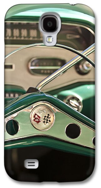Car Abstract Photographs Galaxy S4 Cases - 1958 Chevrolet Impala Steering Wheel Galaxy S4 Case by Jill Reger