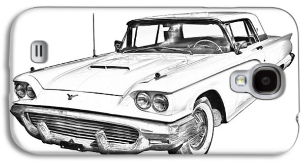 Nostalgia Digital Art Galaxy S4 Cases - 1958  Ford Thunderbird Car Illustration Galaxy S4 Case by Keith Webber Jr