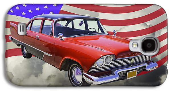 Fury Galaxy S4 Cases - 1958 Plymouth Savoy Car With American Flag Galaxy S4 Case by Keith Webber Jr