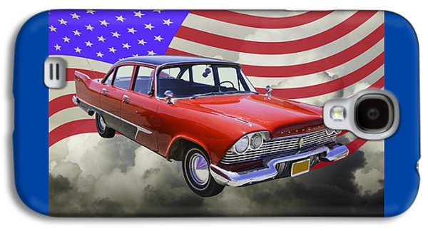 Fury Digital Art Galaxy S4 Cases - 1958 Plymouth Savoy Car With American Flag Galaxy S4 Case by Keith Webber Jr