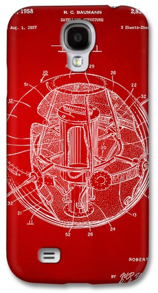 1958 Space Satellite Structure Patent Red Galaxy S4 Case by Nikki Marie Smith