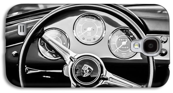 1960 Photographs Galaxy S4 Cases - 1960 Porsche 356 B Roadster Steering Wheel Emblem -1096bw Galaxy S4 Case by Jill Reger