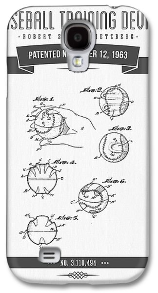 Baseball Bat Galaxy S4 Cases - 1963 Baseball Training Device Patent Drawing Galaxy S4 Case by Aged Pixel