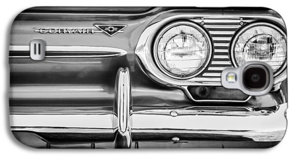 Transportation Photographs Galaxy S4 Cases - 1963 Chevrolet Corvair Monza Spyder Headlight Emblem -0594bw Galaxy S4 Case by Jill Reger