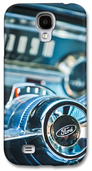 1963 Ford Galaxy S4 Cases - 1963 Ford Falcon Futura Convertible  Steering Wheel Emblem Galaxy S4 Case by Jill Reger