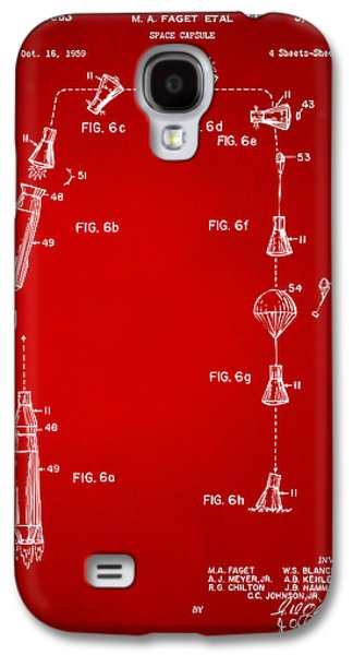 Capsule Galaxy S4 Cases - 1963 Space Capsule Patent Red Galaxy S4 Case by Nikki Marie Smith