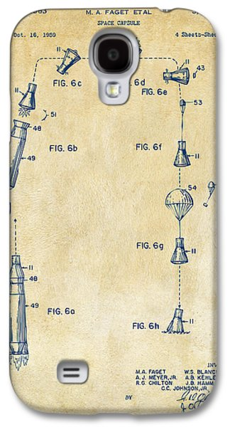 Capsule Galaxy S4 Cases - 1963 Space Capsule Patent Vintage Galaxy S4 Case by Nikki Marie Smith