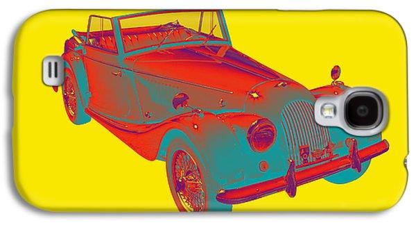 Black Top Digital Art Galaxy S4 Cases - 1964 Morgan Plus 4 Convertible Sports Car Pop Art Galaxy S4 Case by Keith Webber Jr