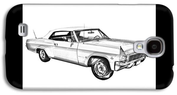 Nostalgia Digital Art Galaxy S4 Cases - 1965 Chevy Impala 327 Convertible Illuistration Galaxy S4 Case by Keith Webber Jr