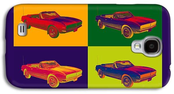Nostalgia Digital Art Galaxy S4 Cases - 1967 Convertible Camaro Muscle Car Pop Art Galaxy S4 Case by Keith Webber Jr