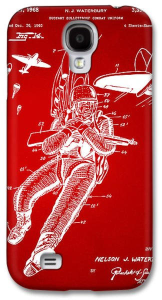 Fight Digital Art Galaxy S4 Cases - 1968 Bulletproof Patent Artwork Figure 14 Red Galaxy S4 Case by Nikki Marie Smith