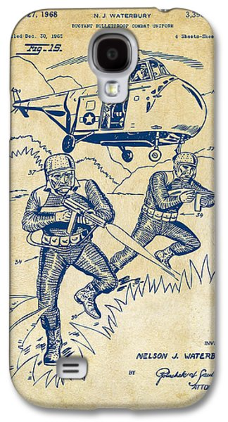 Fight Digital Art Galaxy S4 Cases - 1968 Bulletproof Patent Artwork Figure 15 Vintage Galaxy S4 Case by Nikki Marie Smith