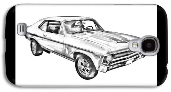 Nostalgia Digital Art Galaxy S4 Cases - 1969 Chevrolet Nova Yenko 427 Muscle Car Illustration Galaxy S4 Case by Keith Webber Jr