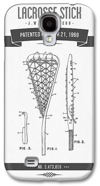 Technical Mixed Media Galaxy S4 Cases - 1969 Lacrosse Stick Patent Drawing - Retro Gray Galaxy S4 Case by Aged Pixel