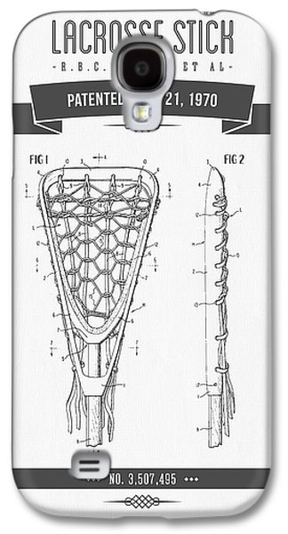 Technical Mixed Media Galaxy S4 Cases - 1970 Lacrosse Stick Patent Drawing - Retro Gray Galaxy S4 Case by Aged Pixel