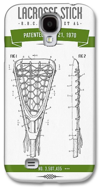 Technical Mixed Media Galaxy S4 Cases - 1970 Lacrosse Stick Patent Drawing - Retro Green Galaxy S4 Case by Aged Pixel