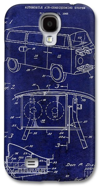 Psychedelic Photographs Galaxy S4 Cases - 1970 VW Patent Drawing Blue Galaxy S4 Case by Jon Neidert