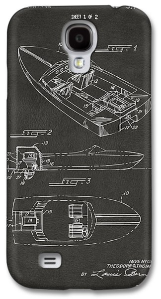 Boaters Galaxy S4 Cases - 1972 Chris Craft Boat Patent Artwork - Gray Galaxy S4 Case by Nikki Marie Smith