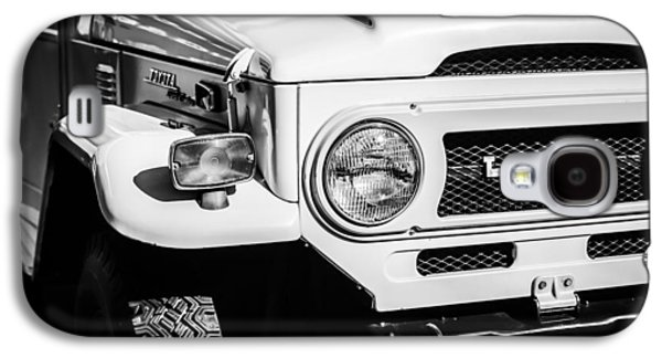 Transportation Photographs Galaxy S4 Cases - 1973 Toyota FJ40 Land Cruiser Grille Emblem -1918bw Galaxy S4 Case by Jill Reger