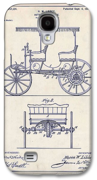 Old Car Drawings Galaxy S4 Cases - 1900 Automobile Patent Drawing Galaxy S4 Case by Jon Neidert