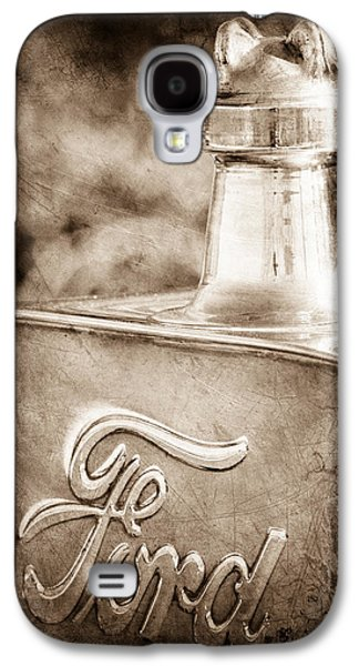 Ford Model T Car Galaxy S4 Cases - 1911 Ford Model T Torpedo 4 cylinder 25 HP Hood Ornament - Emblem Galaxy S4 Case by Jill Reger