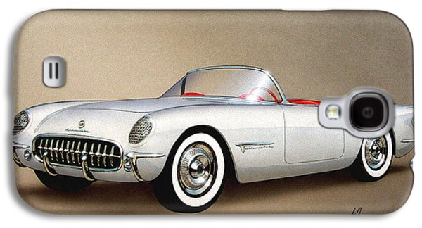 1953 Corvette Classic Vintage Sports Car Automotive Art Galaxy S4 Case by John Samsen