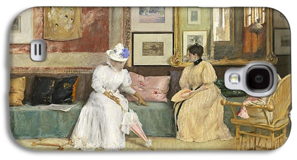 A Friendly Call Galaxy S4 Case by William Merritt Chase