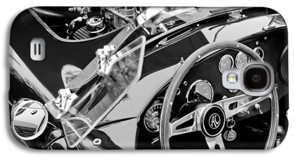 Classic Cars Photographs Galaxy S4 Cases - AC Shelby Cobra Engine - Steering Wheel Galaxy S4 Case by Jill Reger