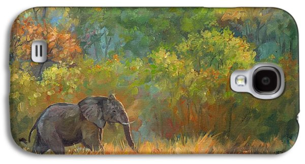 African Paintings Galaxy S4 Cases - African Elephant Galaxy S4 Case by David Stribbling