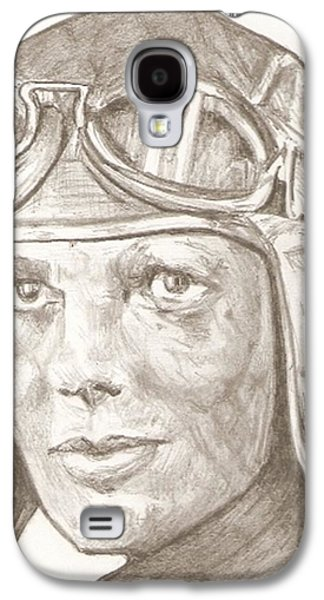 Aviator Drawings Galaxy S4 Cases - Amelia Earhart drawing Galaxy S4 Case by Robert Crandall
