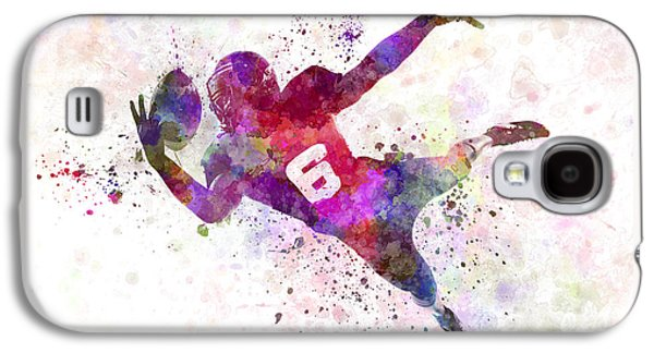 American Football Paintings Galaxy S4 Cases - American Football Player Catching Ball  Silhouette Galaxy S4 Case by Pablo Romero