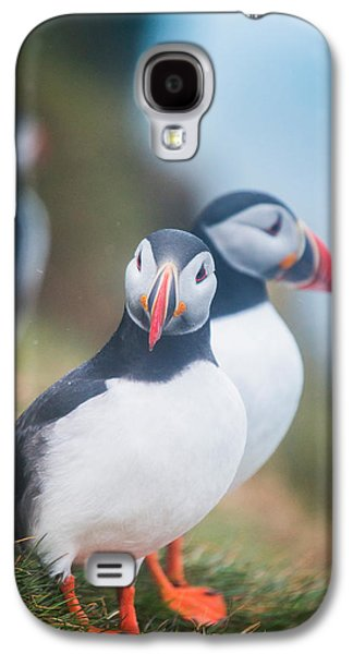 Vertical Flight Galaxy S4 Cases - Atlantic Puffins Fratercula Arctica Galaxy S4 Case by Panoramic Images
