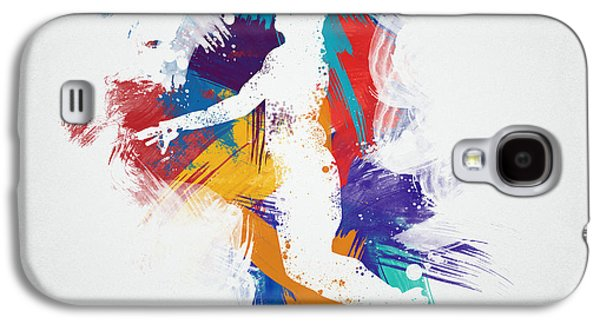 Basketball Abstract Galaxy S4 Cases - Basketball Player Galaxy S4 Case by Aged Pixel