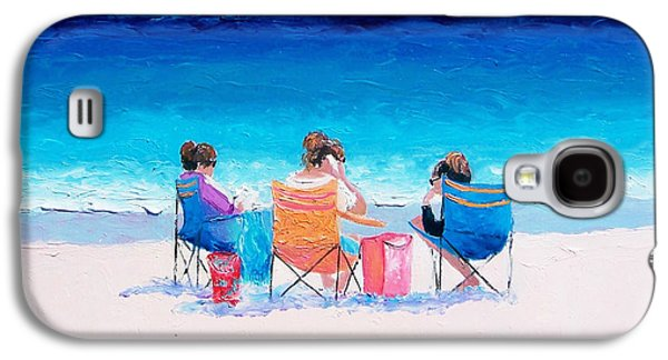 Art Mobile Galaxy S4 Cases - Beach Painting Girl friends by Jan Matson Galaxy S4 Case by Jan Matson