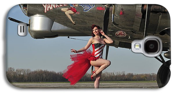 Strapless Dress Galaxy S4 Cases - Beautiful 1940s Style Pin-up Girl Galaxy S4 Case by Christian Kieffer