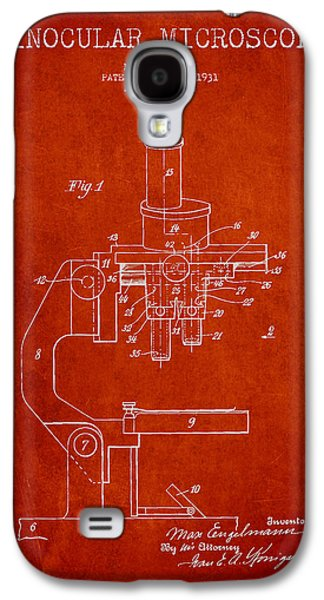 Microscope Galaxy S4 Cases - Binocular Microscope Patent Drawing from 1931 - Red Galaxy S4 Case by Aged Pixel