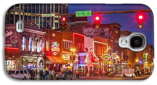 Evening Scenes Photographs Galaxy S4 Cases - Broadway Street Nashville Galaxy S4 Case by Brian Jannsen