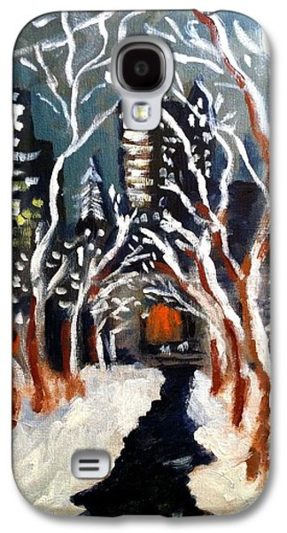 Bryant Paintings Galaxy S4 Cases - Bryant Park Winter Night NYC Galaxy S4 Case by Jean Messner