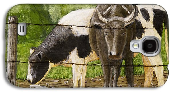 Maine Meadow Galaxy S4 Cases - Bull And Cow Spring Farm Field  Galaxy S4 Case by Keith Webber Jr