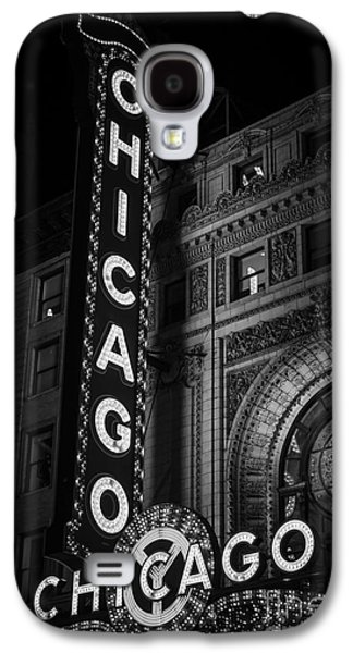 No People Photographs Galaxy S4 Cases - Chicago Theatre Sign in Black and White Galaxy S4 Case by Paul Velgos