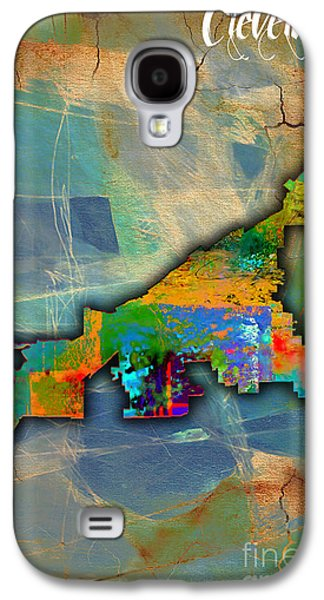 Map Galaxy S4 Cases - Cleveland Map Watercolor Galaxy S4 Case by Marvin Blaine