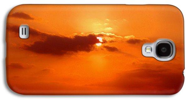 Orange Pyrography Galaxy S4 Cases - Cloudscape Galaxy S4 Case by Athala Carole Bruckner