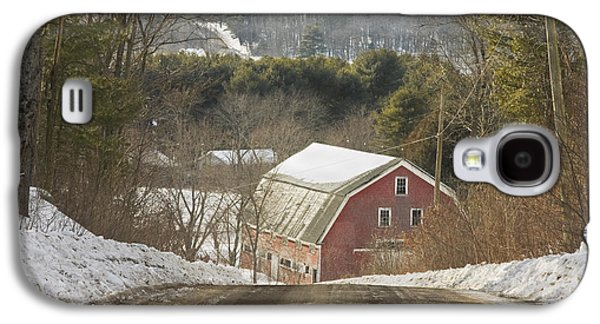 Maine Roads Galaxy S4 Cases - Country Road And Barn In Winter Maine Galaxy S4 Case by Keith Webber Jr