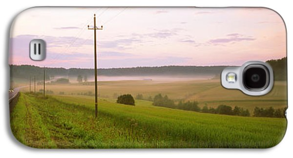 Telephone Poles Galaxy S4 Cases - Country Road Passing Through A Field Galaxy S4 Case by Panoramic Images