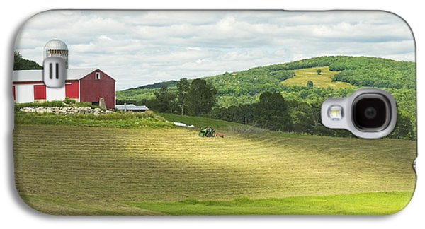 Maine Meadow Galaxy S4 Cases - Cutting Hay In Summer On Maine Farm Galaxy S4 Case by Keith Webber Jr