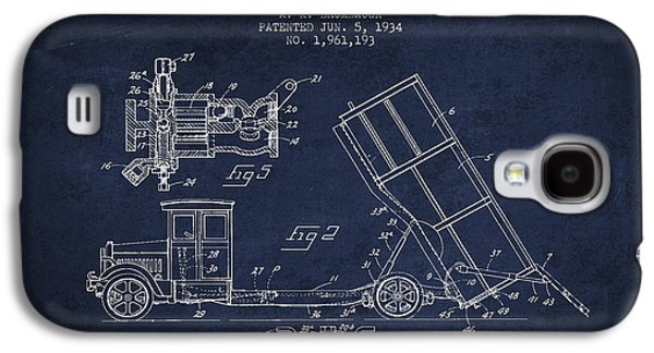 Machinery Galaxy S4 Cases - Dump Truck patent drawing from 1934 Galaxy S4 Case by Aged Pixel
