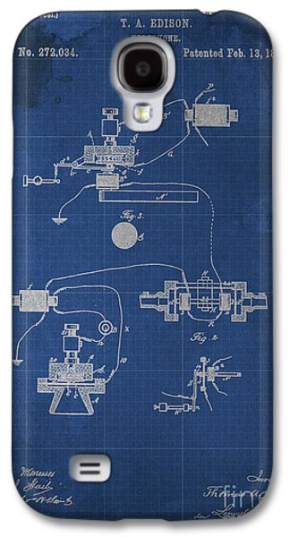 Edison Galaxy S4 Cases - Edison Telephone Patent Blueprint 1 Galaxy S4 Case by Pablo Franchi