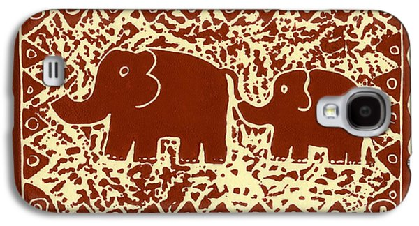 Lino Mixed Media Galaxy S4 Cases - Elephant and calf lino print brown Galaxy S4 Case by Julie Nicholls