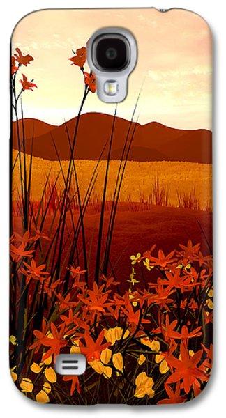 Landscape Digital Art Galaxy S4 Cases - Field of Flowers Galaxy S4 Case by Cynthia Decker